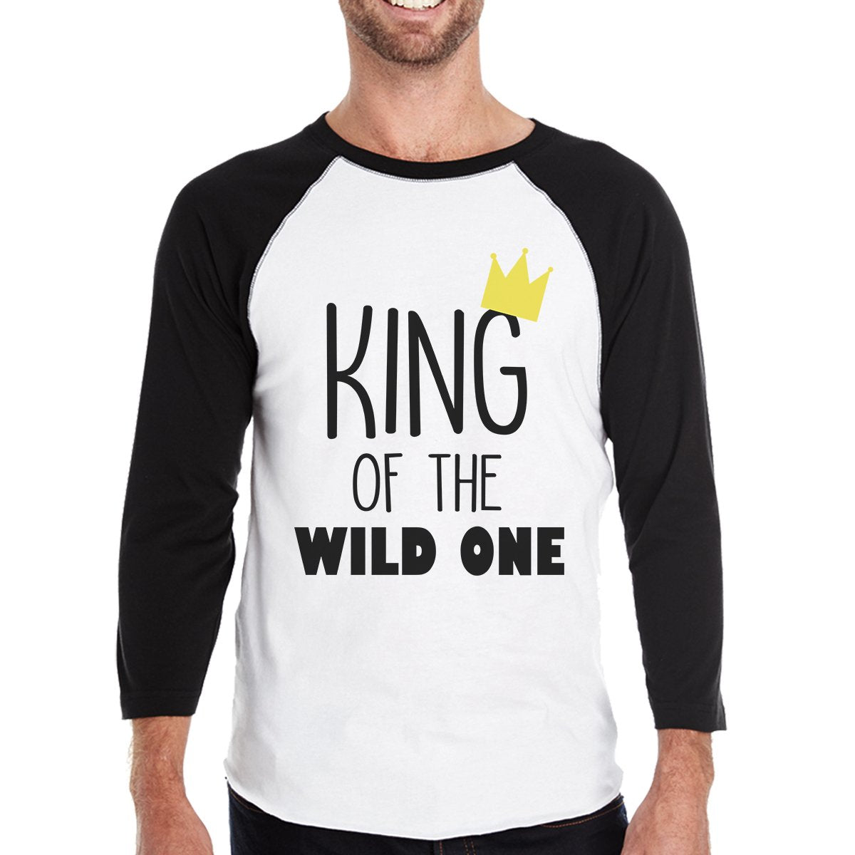 Wild One Crown Mens Black And White BaseBall Shirt