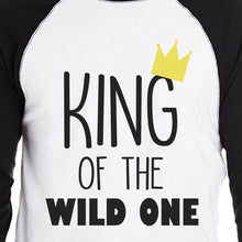 Load image into Gallery viewer, Wild One Crown Mens Black And White BaseBall Shirt
