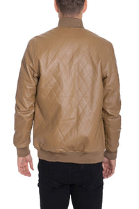 FAUX LEATHER QUILTED JACKET- KHAKI