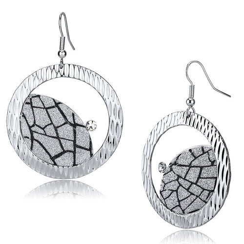 LO2725 Rhodium Iron Earrings with Top Grade