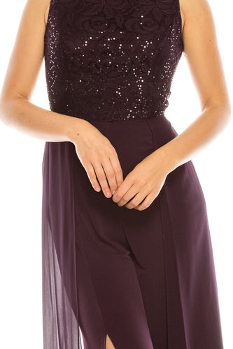 London Times Dark Eggplant Layered Jumpsuit with Sequined Lace Bodice