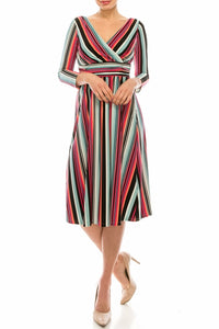 London Times Soft White Rose Striped Empire Waist Midi Dress