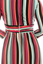 Load image into Gallery viewer, London Times Soft White Rose Striped Empire Waist Midi Dress
