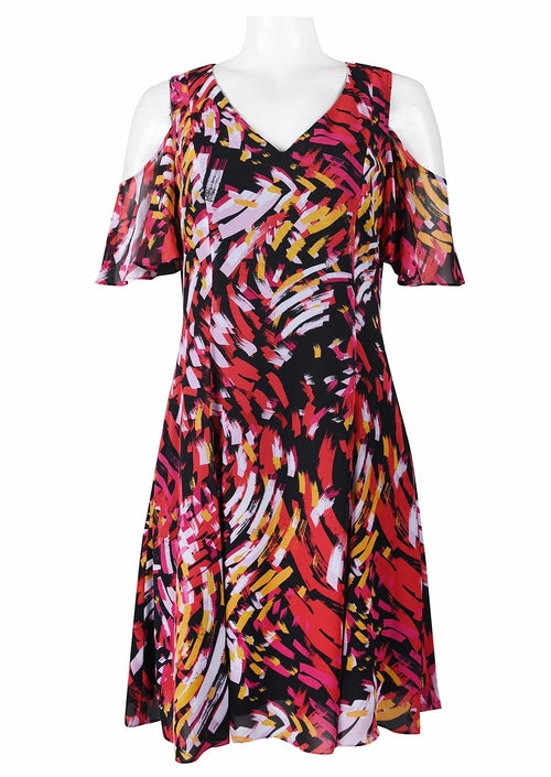 Half Sleeve Open Shoulder Mixed Print Chiffon Dress. Lined. By Nine