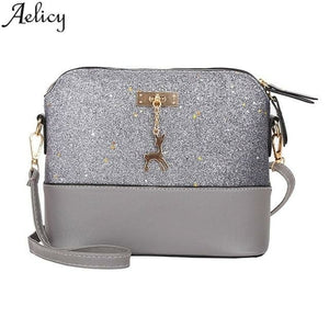 Women  Fashion Zipper Sequins Small Deer Leather Purse Mobile Phone