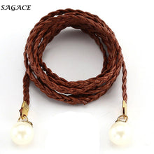 Load image into Gallery viewer, Fashion Belts Women  Imitation Leather Candy Colors Hemp Rope Braid