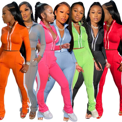 Women Splice Two Piece Set Tracksuit Fall Clothes Crop Top And Pants