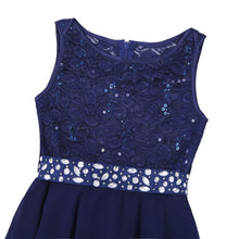 Load image into Gallery viewer, UK STOCK  Kids Princess Summer Dress Sequined Floral Lace Chiffon