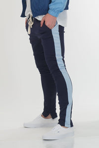 HOLIDAY TRACK PANTS- NAVY/ SKY BLUE