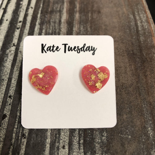 Pink Gold Flake Heart Stud Earrings