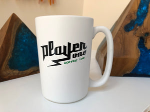 Player One Coffee 15oz White Matte Mug