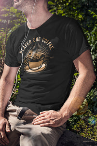 player one coffee console controller tshirt
