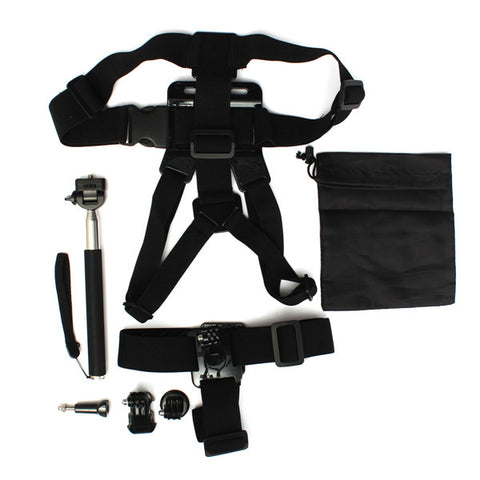 6 In 1 Chest Harness Head Strap Mount Monopod Tripod Adapter For Go Pro 2 3 3 Plus - Bushkin Travel Tech