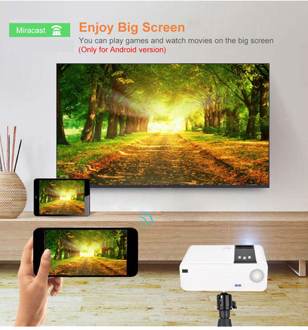HD Mini Projector 1280 x 720 P LED Android WiFi Projector Video Home Cinema 3D HDMI Movie Game