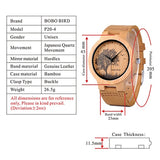 BOBO BIRD LP20 Men Wrist Watch Fashion Bamboo Quartz Watch Montre Homme Skeleton Dragonfly Animals Watch Men