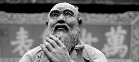 Statue of Chinese Philosopher, Confucius (black and white)