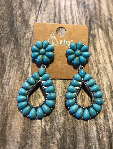 Earrings with Turquoise Teardrop