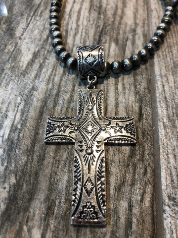 Necklace with Cross and Earrings