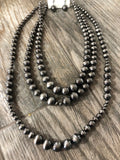 Necklace, Multi-Strand Pewter Color