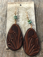Earrings, Tooled Teardrop with Turquoise