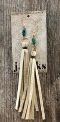 Earrings, Leather Tassel with Turquoise