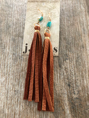 Earrlngs, Leather Tassel with Turquoise