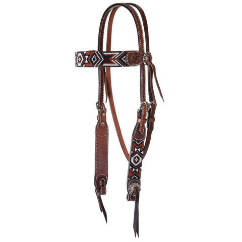 Headstall, Beaded Red Aztec Infinity