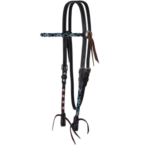 Headstall, Infinity Wrap Orange Aztec