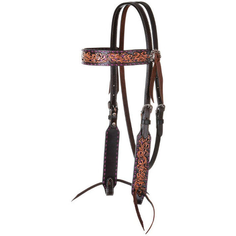Headstall, Purple Buckstitch Distressed Filigree