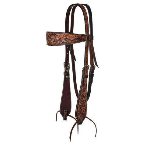 Headstall, Basketweave Acorn & Tan Inlay