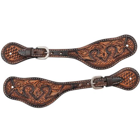 Mens Spur Strap, Basketweave Acorn & Tan Inlay
