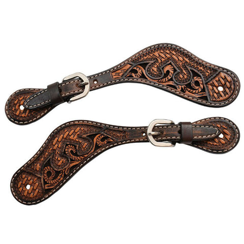 Ladies Spur Straps, Basketweave Acorn & Chocolate Inlay