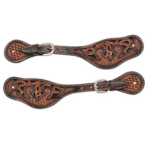 Mens Spur Straps, Basketweave Acorn & Chocolate Inlay