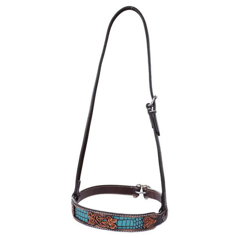 Noseband, Distressed Gator Turquoise Inlay
