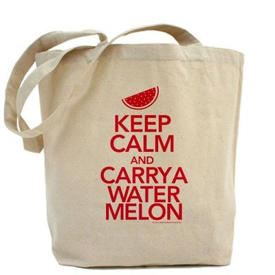 Keep Calm and Carry a Watermelon Tote Bag
