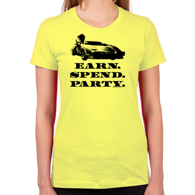 Wolf of Wall Street EARN SPEND PARTY Women's Fitted T-Shirt