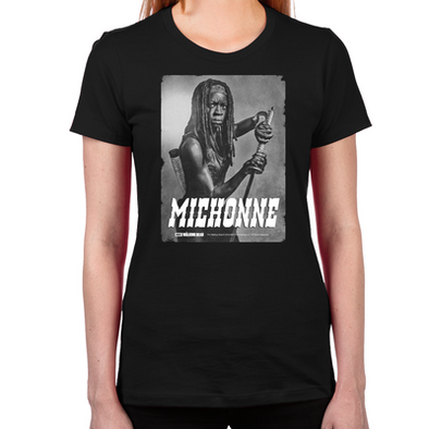 Michonne Silver Portrait Women's Fitted T-Shirt