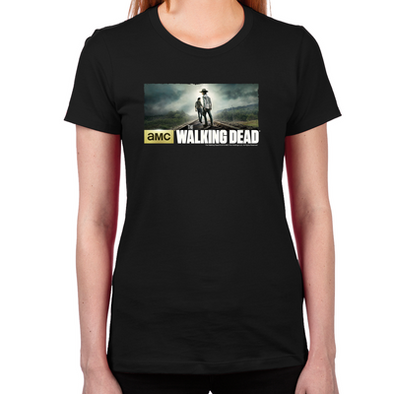 Carl and Rick Grimes Don't Look Back Women's Fitted T-Shirt