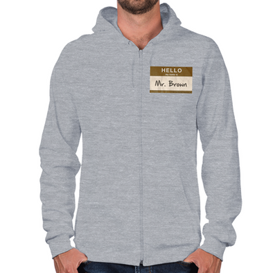 Hello Mr. Brown Zip Hoodie