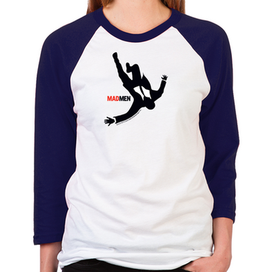 Falling Mad Men Women's Baseball T-Shirt