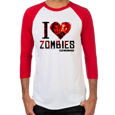 I Heart Zombies Men's Baseball T-Shirt