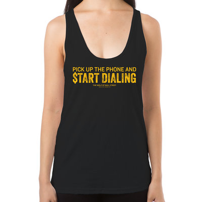 Wolf of Wall Street Pick Up the Phone Women's Racerback Tank