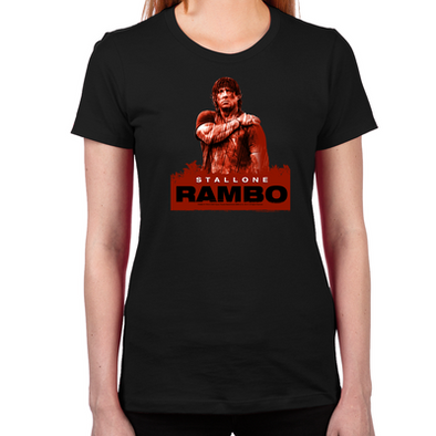 Rambo Stallone Rain Women's Fitted T-Shirts