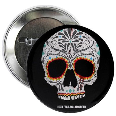 "Day of The Dead Skull 2.25"" Button"