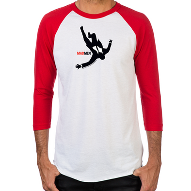 Falling Mad Men Men's Baseball T-Shirt