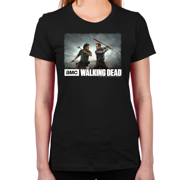 Rick & Negan Face Off Women's Fitted T-Shirt
