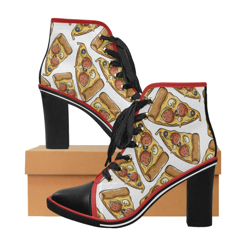 Always Pizza Time - Women's Lace Up Chunky Heel Ankle Booties