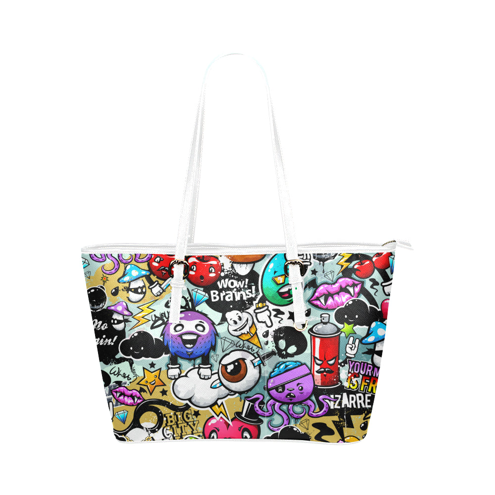 Sounds Of Graffiti Leather Tote Bag