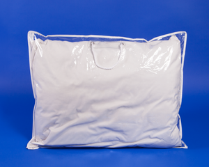 Vinyl Textile Pillow Bags - White Rope Handle