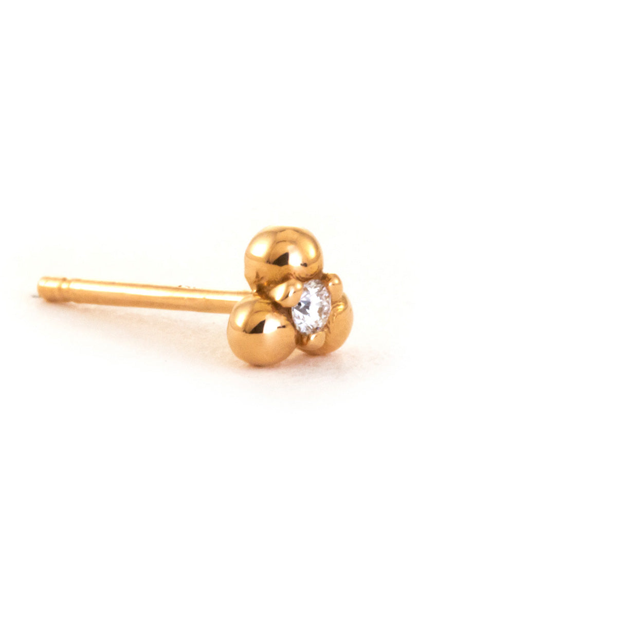 Three Ball Earring with Diamond - 14K Rose Gold